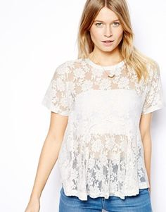 Lace Godet Peplum Top (sold out) | ASOS