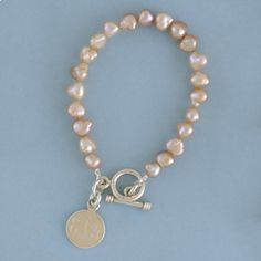 Heartstrings Champagne Freshwater Pearl Bracelet with Sterling Silver Monogrammed Round Charm ID...put new initials on