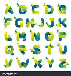 Ecology Alphabet With Green Leaves. Font Style, Vector Design Template Elements…