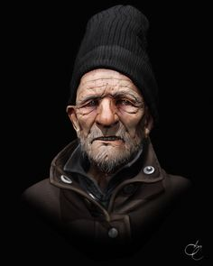 Old Homeless Man Picture  (3d, portrait, old man)
