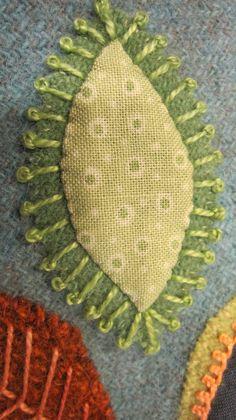 Sue Spargo Leaf, wool,cotton, decorative stitching, lovely