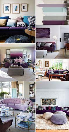 Como combinar as cores de uma sala onde a peça chave é um sofá roxo ou de cor mais forte? Vem ver as dicas clicando na imagem ou no link! http://comprandomeuape.com.br/2016/08/sofa-roxo-na-decoracao.html