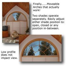 Arched Window Treatments, ADJUST-A-VIEW Moveable Arches by Omega, Moveable Arched Window Treatments for Half and Quarter Circle Windows: Half Circle - JUST what I need for the 12 half circle windows in my house! Arched Window Coverings, Arched Windows, Round Windows, Window Drapes, Small Living Room Design, Living Room Designs, Half Circle Window, Bonus Rooms, Window Dressings