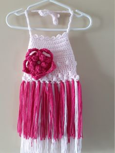 Pretty and dainty dress for girls, large flower on the front. Bow and flower on the back gives this dress beauty and flare. Top is crochet out if baby soft yarn, it is a light weight dress nice for when those hot summer months lasts Flower Hats, Pink Flowers, Dream Catcher, Campaign, Medium, Trending Outfits, Unique Jewelry, Handmade Gifts, How To Wear