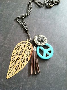 Hippie Necklace Boho Vintage Tassel Turquoise Style Native Sunflower by LoveYewDesigns, $15.00
