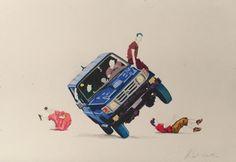 """""""sport auto saoudien"""" 254x178mm, crayons sur papier"""
