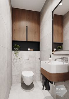Interior design of the toilet від Polygon Дизайн інтер'єру туалета. Interior design of the toilet від Polygon Small Toilet Design, Bathroom Layout, Modern Bathroom Design, Bathroom Interior Design, Modern Toilet Design, Toilet Tiles Design, Small Downstairs Toilet, Small Toilet Room, Small Bathroom