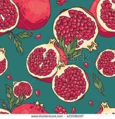 Seamless vector hand drawn pomegranate pattern Abstract Watercolor Art, Watercolor Background, Pattern Illustration, Graphic Design Illustration, Pattern Art, Pattern Designs, Pomegranate Art, Black Art Painting, Grenade