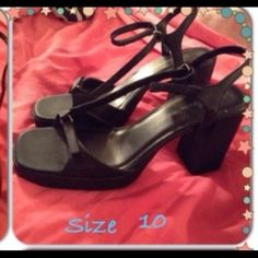 Black high heeled sandals Black chunky heels with Velcro straps Shoes Sandals