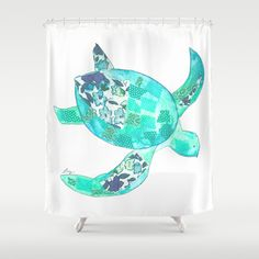 Elegant #YellowPoppies Ocean Blue Sea Turtle Shower Curtain By Yellow Poppies    $68.00