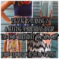Shop now to get 50% off of your ENTIRE purchase!!  Items as low at $2.50 after discount!  Wowee!!  www.zigzagstripe.com