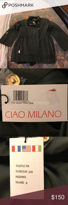 Ciao Milano Tess Rain Jacket - Olive - XL Beautiful anorak that will keep you both stylish and dry in all types of weather! I was gifted this, but it doesn't fit. My disappointment equals your good luck though! Ciao Milano Jackets & Coats Utility Jackets