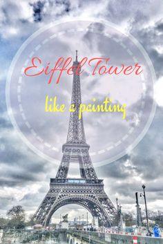 Eiffel tower looking like a painting! #paris #france #travel #europe #eiffeltower #eiffel