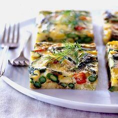 vegetaian: asparagus, zucchini and yellow pepper Frittata...
