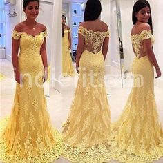 Long Off-the-Shoulder Mermaid Lace Prom Dresses 2017