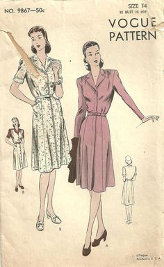 Vogue 9867 Vintage 40s Sewing Pattern Swing by studioGpatterns, $12.50