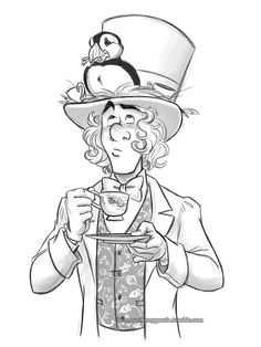 """I imagine the conversation must have gone something like: """"Reginald?"""" """"Is that a puffin on your hat?"""" """"…Huh, I do believe you're correct Alice. Arte Disney, Disney Fan Art, Disney Love, Disney Sketches, Disney Drawings, Art Drawings, Love Illustration, Sketch Inspiration, Art Sketchbook"""