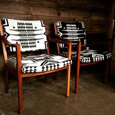 Vintage Gunlock chairs recovered in contrasting Pendleton wool, refinished walnut frames