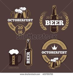 Beer label templates for  brewing company, pub bar and logo. icon beverage…