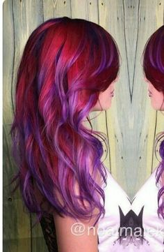 20 Photos That Prove Sunset Color Is the Most Romantic Kind of Rainbow Hair - phoenix hair (fire/sunset/pink/red/orange/yellow/purple) - Hair Designs Red Purple Hair, Red Ombre Hair, Ombre Hair Color, Cool Hair Color, Hair Colors, Purple Balayage, Purple Highlights, Cheveux Oranges, Sunset Hair
