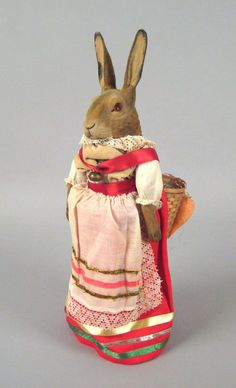 German paper mache rabbit candy container, Pook & Pook