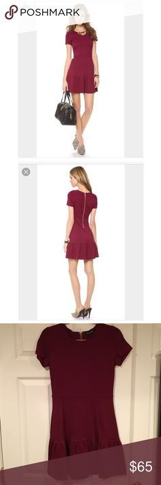 """Juicy Couture Solid Ponte Flirty Dress Wine Sz S Juicy Couture Solid Ponte Flirty Dress Wine Sz S, worn a few times still in very good condition, mix of viscose/polyamide/elastane, short sleeve, gold zip back with """"J"""" zip, front middle of dress measured down 30.5"""", armpit to armpit about 14.5"""", back center of dress measured down about 33 1/4"""", bought directly from Juicy a few years ago retail about $268 Juicy Couture Dresses"""