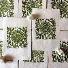 Sunflower block prints on handmade paper, now available on @folksyhq #printmaking #linoprints #sunflower #folksy