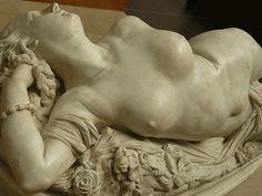 Detail - Femme Piquée par un Serpent (Woman Bitten by a Snake) 1847. Auguste Clésinger (1814 -1883). Marble. Musée d'Orsay, Paris, France.