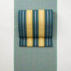 「総浮献上 五福」博多織元OKANOが博多織の代表的技法をもちいて制作した、博多献上柄の定番名古屋帯。