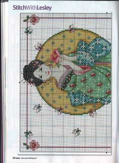 Borduurpatroon Kruissteek Vrouw *Cross Stitch Pattern Woman  ~Groene Kimono Geisha *Green Kimono Geisha 1/2~