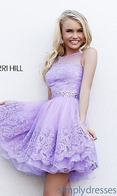 Short High Neck Dress by Sherri Hill at SimplyDresses.com