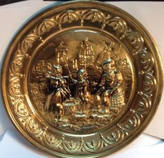 "vintage 10"" embossed copper art decorative plate / assiette de cuivre ancienne"