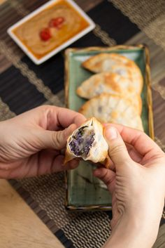 Vegan baked purple yam and sweet potato dumplings with peanut sauce let you satisfy your dumpling cravings in a healthy way!