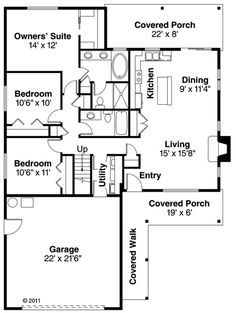 Ranch Style House Plan - 3 Beds 2 Baths 1369 Sq/Ft Plan #124-879 Floor Plan - Main Floor Plan - Houseplans.com