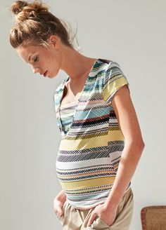 Queen Bee Maternity Nursing Shirt in Multi Stripes by Queen mum