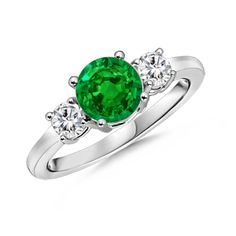 Angara 3-Prong-Set Heart Emerald Ring With Diamond Accents QgYjyWb