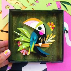Itty-bitty toucan - because I just can't help myself with birds I hope to see some of you at booth 5551 next week! ___ CREATIVE PAPER ART (the best! 3d Paper Art, Origami Paper Art, 3d Paper Crafts, Paper Artwork, Art 3d, Paper Birds, Paper Flowers, Brittney Lee, Paper Illustration