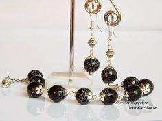 Ellys Shop: Set cercei si bratara agate fatetate negre Agate, Tasty, Drop Earrings, Handmade, Shopping, Jewelry, Hand Made, Jewlery, Jewerly