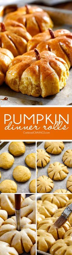 Fluffy, soft and tender Pumpkin Rolls will be the talk of your Thanksgiving Table!  Adorably delicious and easier than you might think and the Whipped Brown Sugar Cinnamon Butter is divine! via /carlsbadcraving/