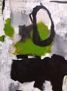 Abstrakte Kunst in den Farben grün, türkis und mint.