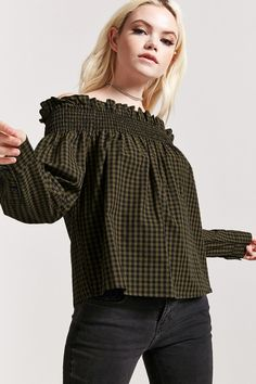 Forever 21 is the authority on fashion & the go-to retailer for the latest trends, styles & the hottest deals. Shop dresses, tops, tees, leggings & more! Off Shoulder Blouse, Off The Shoulder, Forever 21, Cuff Sleeves, Long Tops, Gingham, Latest Trends, Ruffle Blouse, How To Wear