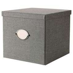 """KVARNVIK Box with lid - gray, 12 ½x13 ¾x11 ¾ """" - IKEA to use in expedit?"""