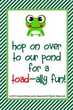 For A Toad Ally Fun Birthday Party