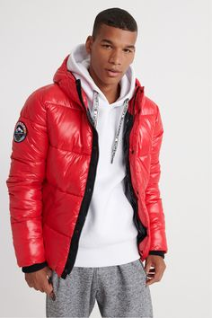 Buy Superdry High Shine Bomber Jacket from the Next UK online shop Red Bomber Jacket, Bomber Jackets, Superdry Mens, Hot Boys, Uk Online, Winter Jackets, Menswear, Mens Fashion, Zip
