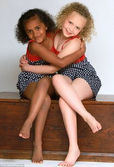 Loving: twin sisters Kian and Remee, seven years after they came into the world