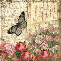 Basic Vintage 3 from the ovely talented Michelle of Michelle R Designs, she has a store on Etsy selling beautiful paper & matching elements. Vintage Labels, Vintage Ephemera, Vintage Cards, Vintage Paper, Vintage Postcards, Floral Vintage, Vintage Butterfly, Vintage Flowers, Vintage Prints