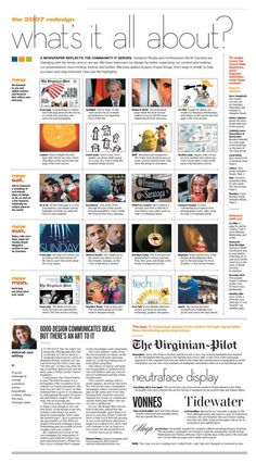 Newspaper Designs - The Virginian Pilot Layout Design, Web Design, Grid Design, Graphic Design, Newspaper Layout, Newspaper Design, Design Websites, Front Page Design, Journaling