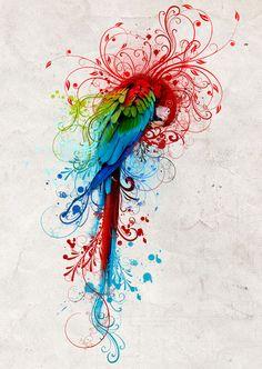 Rainbow parrot 2011 by mu6.deviantart.com on @deviantART