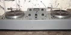 This is a 1960'S KD20A portable audio turntable console with mic preamps and 2 turntables by Gates. This DJ set-up was manufactured from about 1965 to 1968.