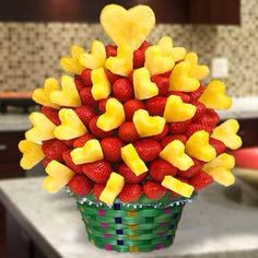 Strawberry and pineapple arrangement.